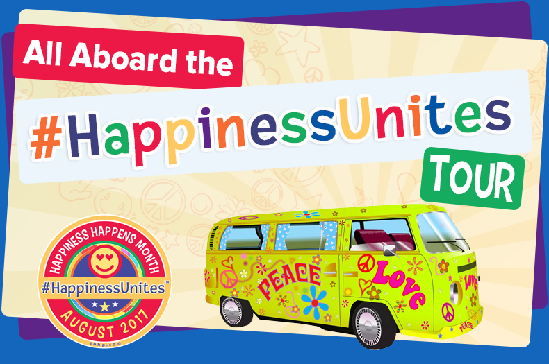 #HappinessUnites, #HappinessUnites Tour, Pamela Gail Johnson, SOHP.com, Secret Society of Happy People, Happiness Happens Month, Happiness Unites