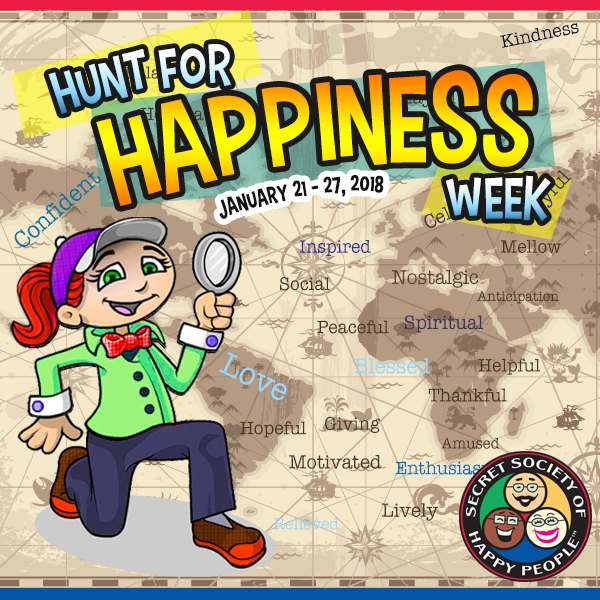 Hunt for Happiness Week, SOHP.com, Secret Society of Happy people, Pamela Gail Johnson