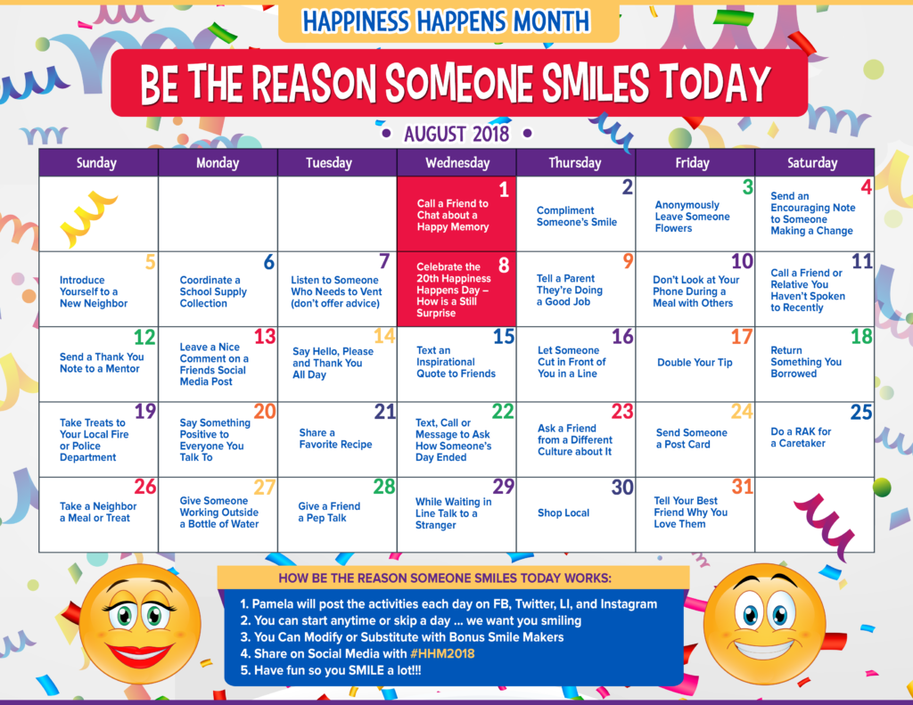 Happiness Happens Month, Be The Reason Someone Smiles Today, SOHP.com, Pamela Gail Johnson, Secret Society of Happy People
