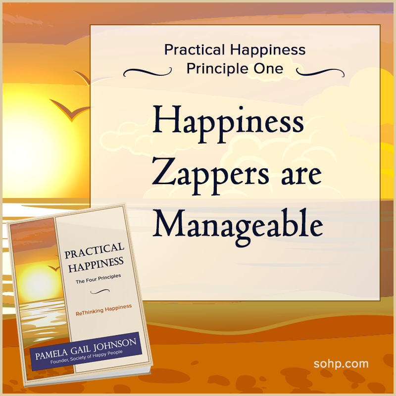 practical happiness principles, happiness zappers, Pamela Gail Johnson, SOHP.com, Happiness Zappers Are Manageable